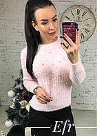 Стильная розовая кофточка с бусинками. Арт-8617/70