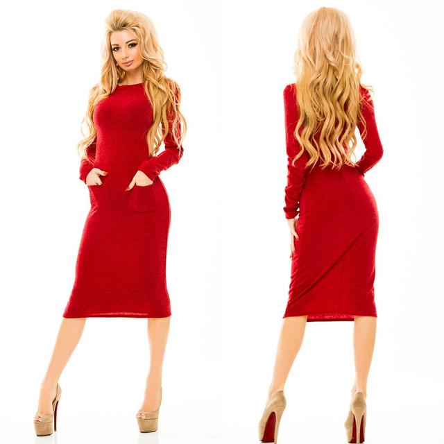 de859ea3698 Теплое женское платье миди трикотаж-ангора  продажа