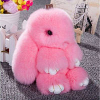 Меховой брелок (розовый) на сумку в виде зайчика (Натуральный мех) 17см.