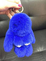 Меховой брелок (синий) на сумку в виде зайчика (Натуральный мех) 17см.