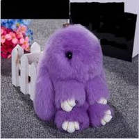 Меховой брелок на сумку в виде зайчика нежно фиолетовый