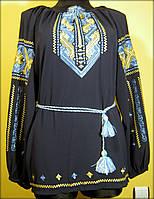 """Вишиванка """"Дві дороги"""", вишита жіноча блуза на темно синьому шифоні голуби та жовтими нитками, машинна вишивка"""