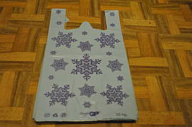 Пакет полиэтиленовый майка Снежинка 30х55 см