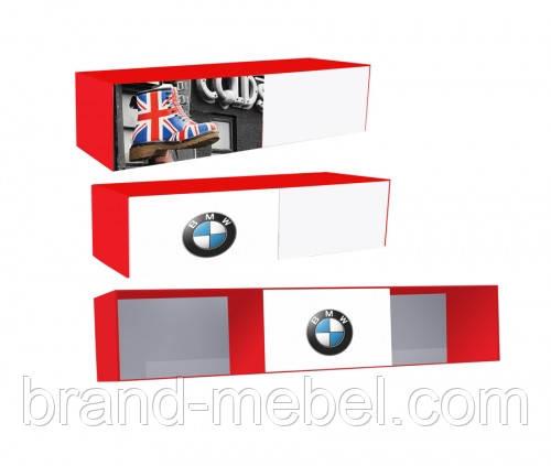 Полка три секции одна дверка с фотопечаттю автомобилей