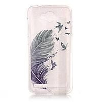 Чехол накладка силиконовый TPU Printing для Huawei Y3 II Feather Birds