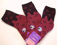 Женские шерстяные носки махровые в ёлочки бордовые