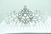 Ажурная корона под серебро с камнями. Праздничная бижутерия оптом. 89
