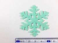 Нашивка снежинка бирюза 50х43 мм