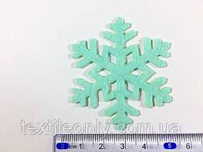 Нашивка сніжинка бірюза 50х43 мм