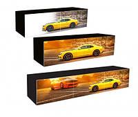 Полка три секции три дверки с фотопечаттю автомобилей