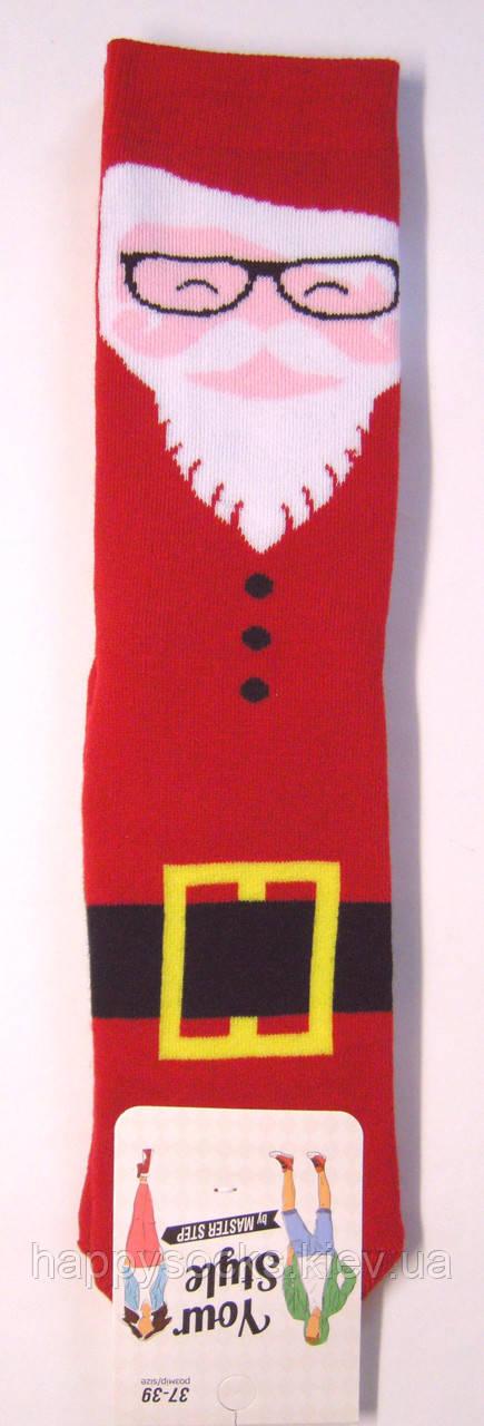 Женские носки махровые Дед Мороз красного цвета