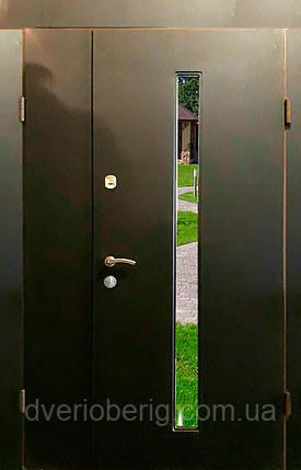 Входная дверь двух створчатая модель П3-ГЛАДКАЯ vinoriт-20 СТЕКЛО, фото 2