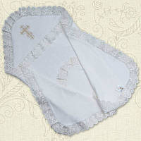 Крыжма для крещения двойная с вышивкой Интерлок 75х100 см Белый / молочный цвет Бетис