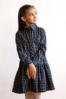 Шерстяное платье-рубашка в клетку (р.134)