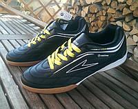Футзалки Restime 44, черные,  желтая шнуровка
