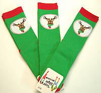 Новогодние мужские теплые носки зелёного цвета в Олени