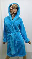 Махровый женский халат короткий, однотонный
