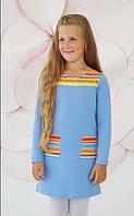 Трикотажное платье Париж, двухнитка, голубой (р.116,122,134)