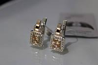 Серебряные серьги сзолотом 375