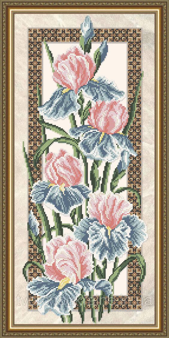 Авторская канва для вышивки бисером «Ирисы» (на бежевом)