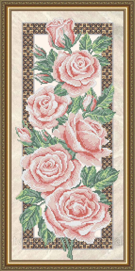 Авторская канва для вышивки бисером «Розы» (на бежевом)