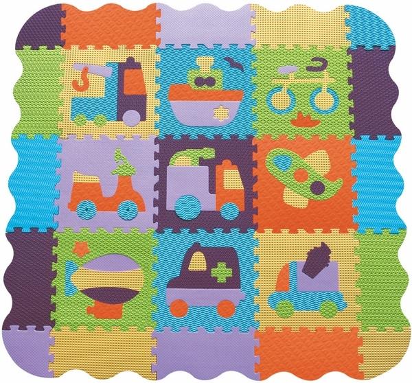 Детский коврик-пазл Baby Great Быстрый транспорт с бортиком