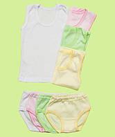 Комплект белья для девочки трусики маечка белого цвета
