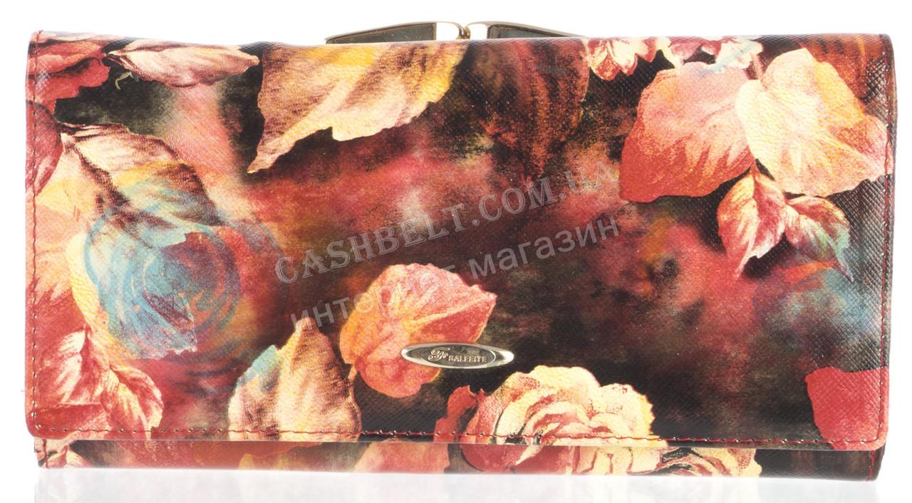 Кожаный вместительный женский кошелек SALFEITE art.2460-D30 цветы