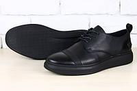 Спортивные туфли кожаные черные