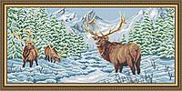 Авторская канва для вышивки бисером «Олени в зимнем лесу»