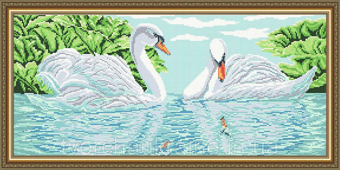 Авторская канва для вышивки бисером «Лебеди»