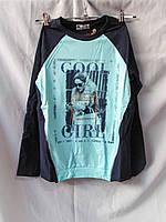 Батник реглан подростковый оптом для девочек 13-16 лет, принт Cool girl, стразы, фото 1