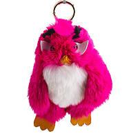 Брелок детский Птица нат. мех  малиновая  Энгри Бердс ( Angry Birds )  h-15 см