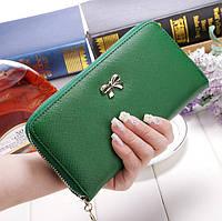 Женский кошелек Золотой Бантик на молнии большой зеленый, фото 1