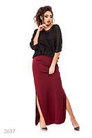 Бордовое вечернее платье-макси с черным шифоновым верхом