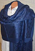 Палантин шарф в стиле Louis Vuitton (Луи Витон) темно синий