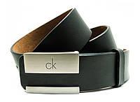 Стильный класический мужской кожаный ремень Calvin Klein под брюки или джинсы с элегантной пряжкой(11210)