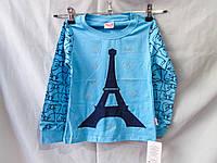 Батник оптом для девочек 5-8 лет, Эйфелева башня, стразы, разные цвета
