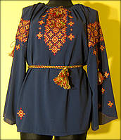 "Вишиванка жіноча ""Святкова"" на синьому шифоні, блуза вишита кольоровими нитками, машинна вишивка"