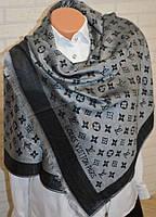 Палантин шарф в стиле Louis Vuitton (Луи Витон) черно-серый