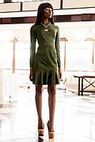 Стильное Замшевое Платье с Воланами Хаки S-XL