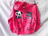 Батник оптом для девочек 110-134 см, с капюшоном, карманами, отделан пайетками, разный цвет