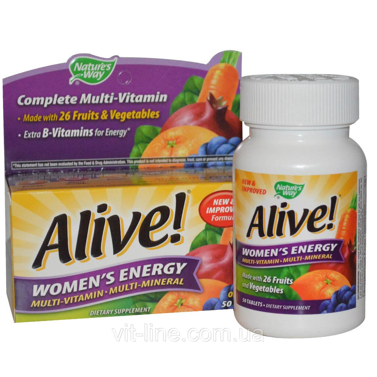 Nature's Way, Alive! Женская Энергия, Мультивитамины - Мультиминералы, 50 таблеток