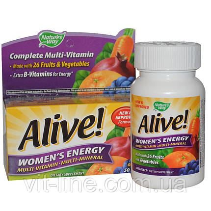 Nature's Way, Alive! Женская Энергия, Мультивитамины - Мультиминералы, 50 таблеток, фото 2