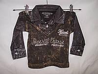 Батник детский оптом, обманка рубашка с жилетом джинс-терка, рост 62-80 см