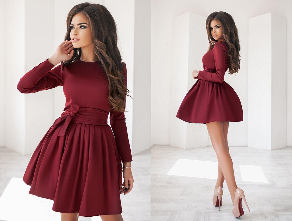 47d73372ecd Изумительное платье женское с пышной юбкой с фатиновым подъюбником цвета  марсала - Стильная женская одежда оптом