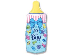 "Мини шар фольга ""Бутылка голубая"".  Размер: 14""/33cm X 14""/33cm.  Пр-во ""FlexMetal"" (Испания)"