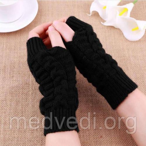Черные вязаные митенки, перчатки без пальцев