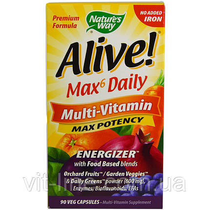 Nature's Way, Alive! Max6 Dailiy, мультивитамин, макс эффективность, 90 капсул, фото 2