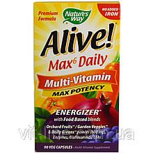 Nature's Way, Alive! Max6 Dailiy, мультивитамин, макс эффективность, 90 капсул